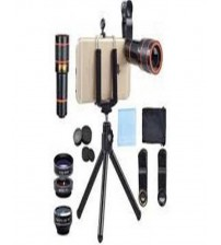 Universal 8X Zoom Mobile Phone Telescope Lens With Tripod Stand - Black And Red