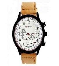 Brown Leather Strap Watch with White Dial