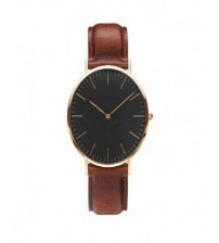 Black Dial and Brown Leather Wrist Watch For Men
