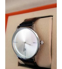 Black Leather Strap Watch with Auto Date