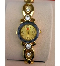 Women Designer Watch, Golden Chain, Golden Dial, Round Black, Analogue Watch