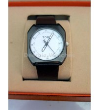 Men Watch Black Leather strap White Dial,Round Black, Analogue watch