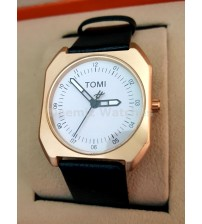 Mens Watch,Black Leather Strap White Dial ,Round Golden Analogue Watch