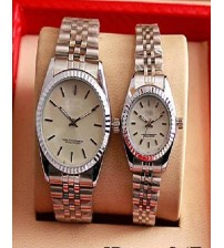 Couple Watch silver and White Dial For Women