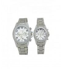 Pack Of 2 - Silver Chain Analog Couple Watches