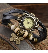 Deemiz Black Leather Ladies Watch for Women-Girls Rs. 499 (Free Delivery)