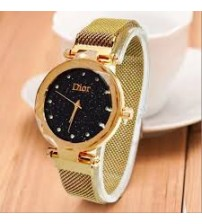 Deemiz Collection Mesh Golden Magnet Watch for Girls - Women