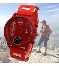 Deemiz Compass and Thermometer Watch for Boys - Red