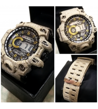 Denim Style Strap Sports Watch for Men and Boys - Brown Color