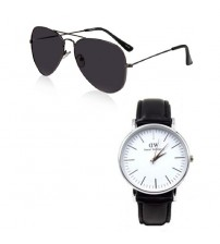 Pack of 2 - Black Sunglasses And Leather Strap Watch