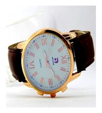 Deluxe Stylish Golden Case - White Dial And Leather Strap -Men Watch & Women Watch