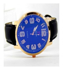 Curren Stylish Goldlen Alloy Case - Blue Dial And Black Leather Strap -Men Watch & Women Watch