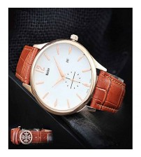 Deluxe Men Stylish Brown Leather Strap Watch With Auto Date
