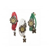 Deemiz Pack Of 3 - Vintage Watches With Leather Strap For Women
