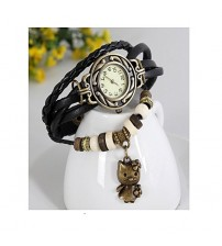 Black Vintage Style Leather Band Watches For Girls