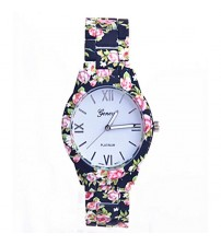 Geneva Blue Floral Watch For Women