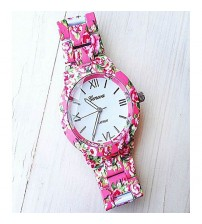 Geneva Pink Floral Watch For Women