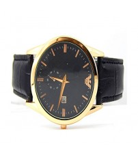 Deemiz Golden Case - Black Dial & Black Leather Strap, Auto Date & Chronograph Men watch , Women watch