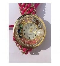 Deemiz Golden Pink Thread Strap Watch for Women