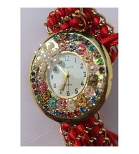 Deemiz Fancy Golden & Red Thread Strap Watch for Her