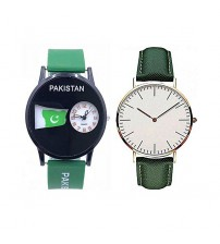 Deemiz Pack of 2 Independence Day watches - Green