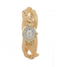Golden Stainless Steel Braided Bracelet Watch