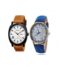 Pack of 2 - Blue & Brown Leather Strap Analog Watch