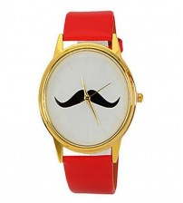 Mustaches Watch with Red Strap