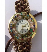 Golden and Brown, Thread Knitted, Bracelet Watch for Women