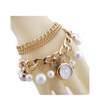 Gold Pearls Crystal Bracelet Watch For Women