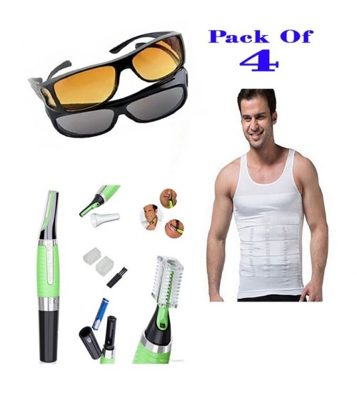 Pack Of 4- Slim N Lift Slimming Vest with Micro Touch Hair Trimmer & HD Glasses Day and Night