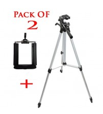3110 - Tripod Stand For Dslr Camera With Mobile Holder - Black & Silver