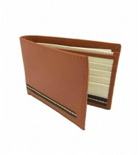 Cow Leather Bifold Wallet for Men - Brown and Off White