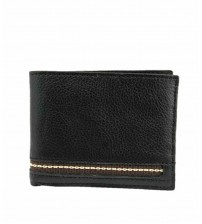 Cow Leather Bifold Wallet for Men - Black & Blue