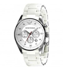 Emporio Armani Watch with Auto Date, White