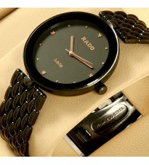 Elegant Full Black Watch with Metal Chain