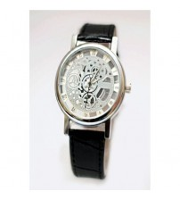 Skeleton Watch with Black Strap for Men/Women
