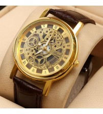 Skeleton Golden Watch With Brown Leather Strap