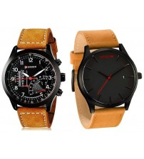 Pack of 2 - Black Watches with Brown Leather Strap