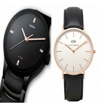 Pack of 2 - Full Black Watch and white Dial Leather Strap Watch