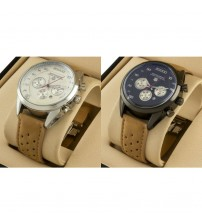 Pack of 2 Analogue Watches With Date and Leather Strap