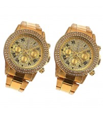 Pack of 2 Golden Watches for Men/Women