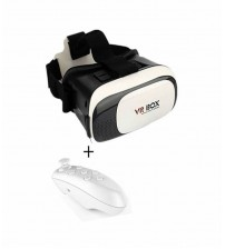 VR Box With Bluetooth Remote - White