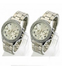 Pack of 2 Silver Watches for Men/Women