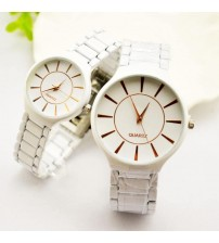 Pack Of 2 White Stainless Steel Couple Watches