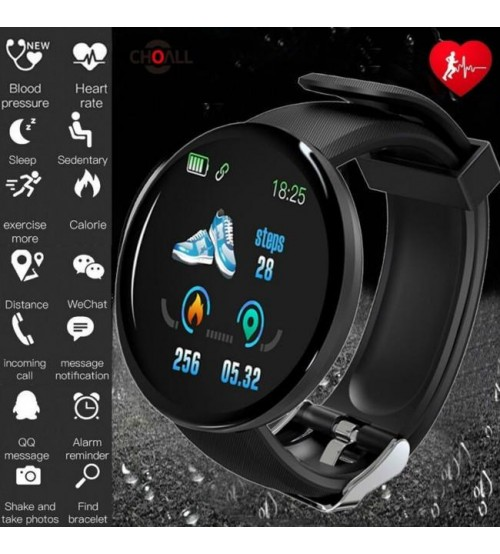 D18 SMART WATCH WITH HEART RATE BLOOD PRESSURE MONITOR D18 Fitness Tracker Smart Watch Band Bluetooth 18 Smart Wristband D18 Sports Watches D13 Smart Band Men Women Smartwatch Android