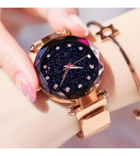 Fashion Magnetic Wrist Watch for Girls Golden