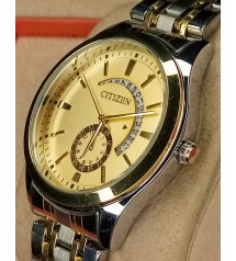 Citizen Gold and Silver Quartz Wristwatches 2021 Top Brand Watch for Men