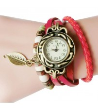 Red Leather Ladies Watch for Women-Girls