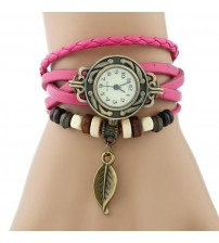 Pink Leather Ladies Watch for Women-Girls